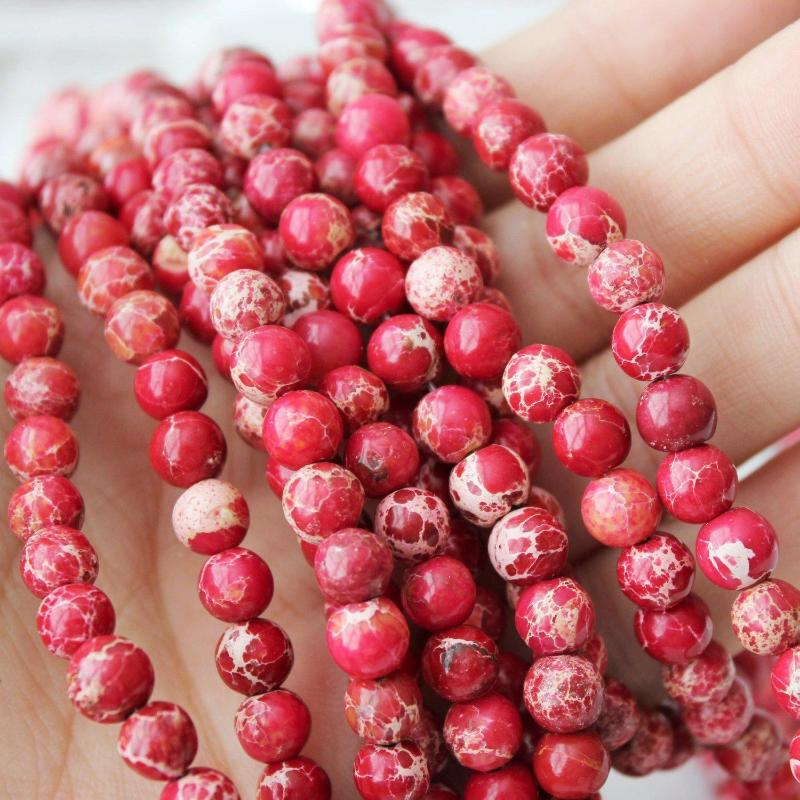 red impression jasper, 6mm, round, glossy, 1 strand, 16 inches, approx. 66 beads.-Gemstone Beads-BeadsVenture