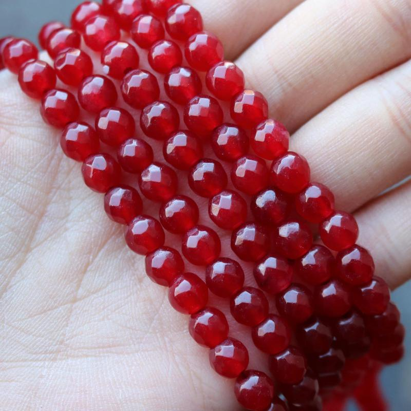 red jade, 6mm, round, faceted, 1 strand, 16 inches, approx. 66 beads.-Gemstone Beads-BeadsVenture