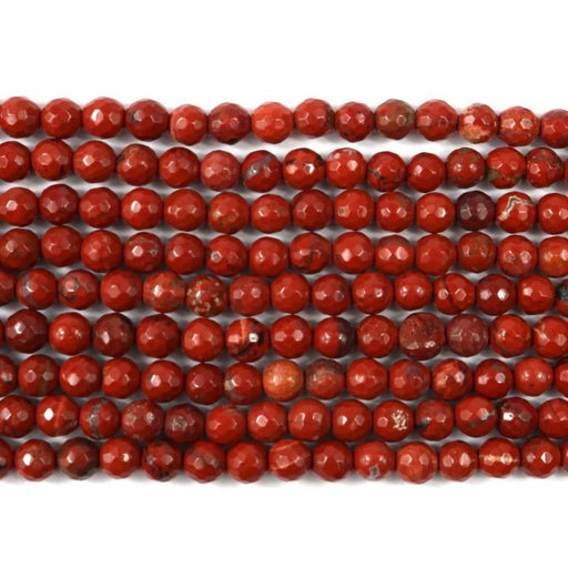 red jasper, 6mm, round, faceted, 1 strand, 16 inches, approx. 66 beads.-Gemstone Beads-BeadsVenture