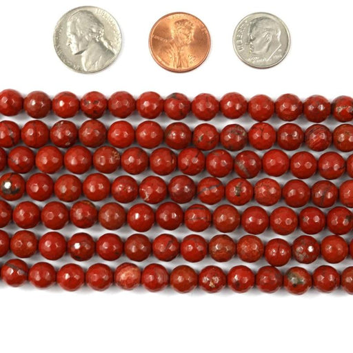 red jasper, 8mm, round, faceted, 1 strand, 16 inches, approx. 48 beads.-Gemstone Beads-BeadsVenture