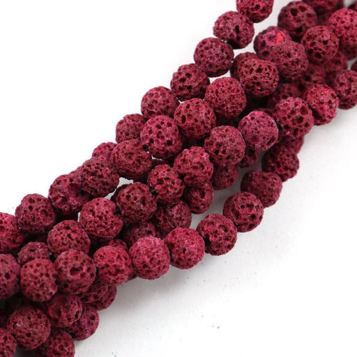 red lava, 6mm, round, rough, 1 strand, 16 inches, approx. 66 beads.-Gemstone Beads-BeadsVenture