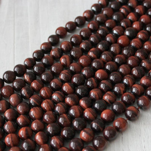 red tiger eye, 10mm, round, glossy, 1 strand, 16 inches, approx. 40 beads.-Gemstone Beads-BeadsVenture