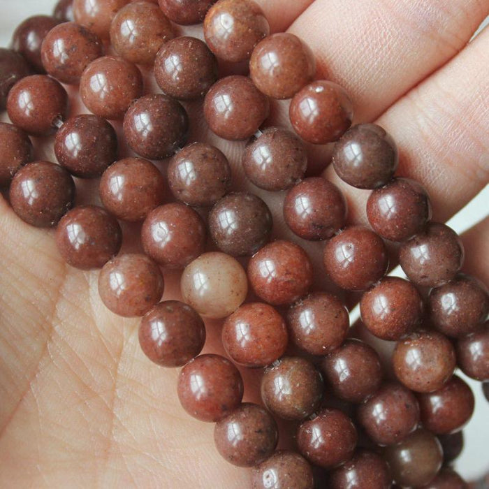 reddish brown aventurine, 8mm, round, glossy, 1 strand, 16 inches, approx. 48 beads.-Gemstone Beads-BeadsVenture