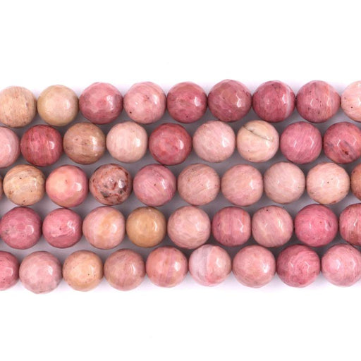 rhodonite, 10mm, round, faceted, 1 strand, 16 inches, approx. 40 beads.-Gemstone Beads-BeadsVenture