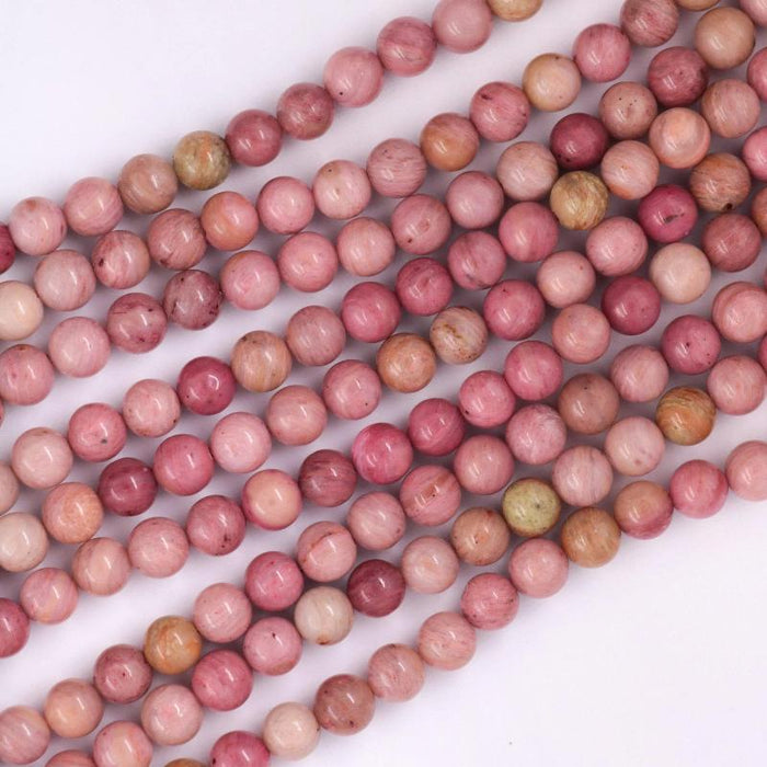 rhodonite, 6mm, round, glossy, 1 strand, 16 inches, approx. 66 beads.-Gemstone Beads-BeadsVenture