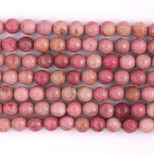 rhodonite, 8mm, round, faceted, 1 strand, 16 inches, approx. 48 beads.-Gemstone Beads-BeadsVenture