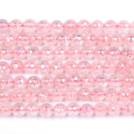 rose quartz, 10mm, round, silver plated, faceted, 16 inch strand, approx. 38 beads-Gemstone Beads-BeadsVenture