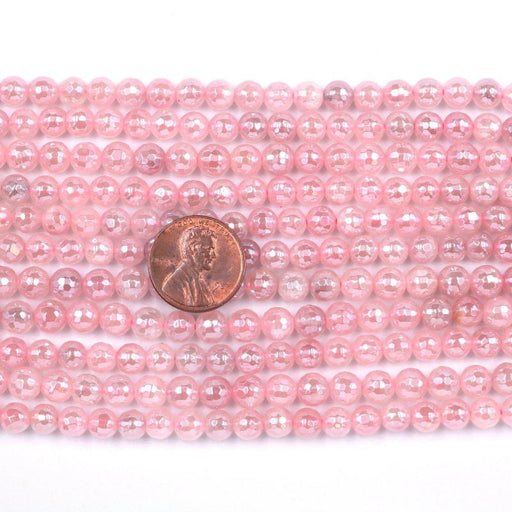 rose quartz, 6mm, round, silver plated, faceted, 16 inch strand, approx. 66 beads-Gemstone Beads-BeadsVenture