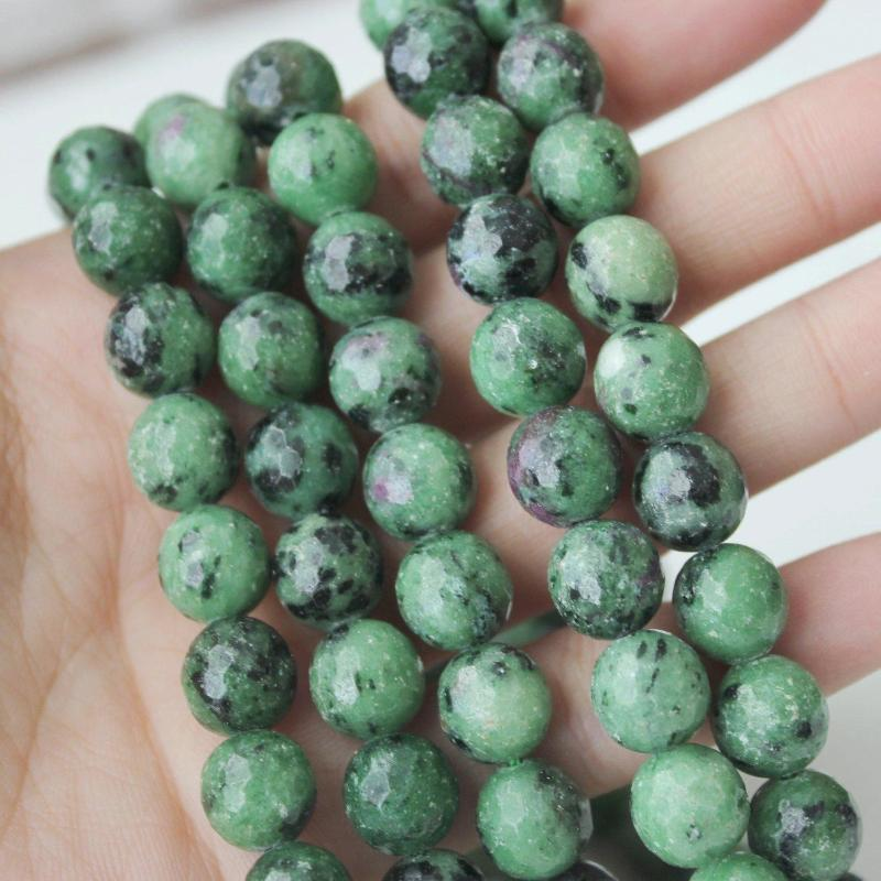 ruby zoisite, 10mm, round, faceted, 1 strand, 16 inches, approx. 40 beads.-Gemstone Beads-BeadsVenture