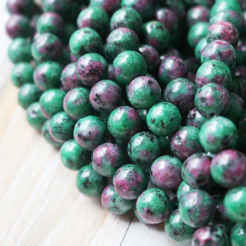 ruby zoisite, 10mm, round, glossy, 1 strand, 16 inches, approx. 40 beads. Imitation.-Gemstone Beads-BeadsVenture