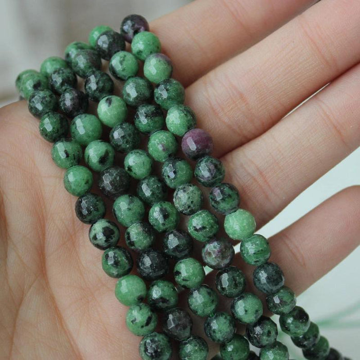 ruby zoisite, 6mm, round, faceted, 1 strand, 16 inches, approx. 66 beads.-Gemstone Beads-BeadsVenture