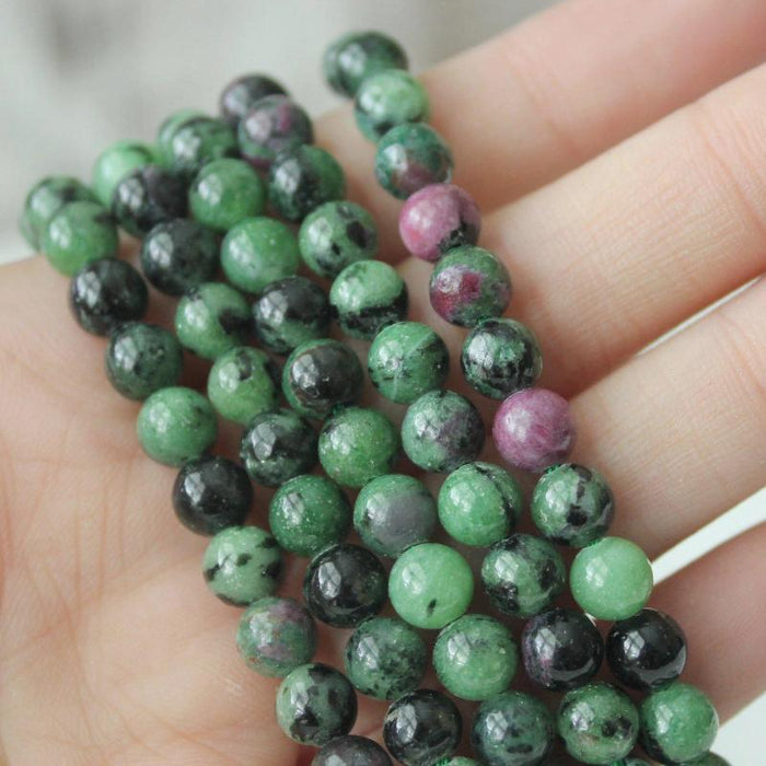 ruby zoisite, 6mm, round, glossy, 1 strand, 16 inches, approx. 66 beads.-Gemstone Beads-BeadsVenture