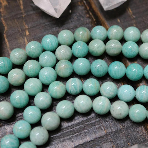 russian amazonite, 10mm, round, glossy, 1 strand, 16 inches, approx. 40 beads.-Gemstone Beads-BeadsVenture