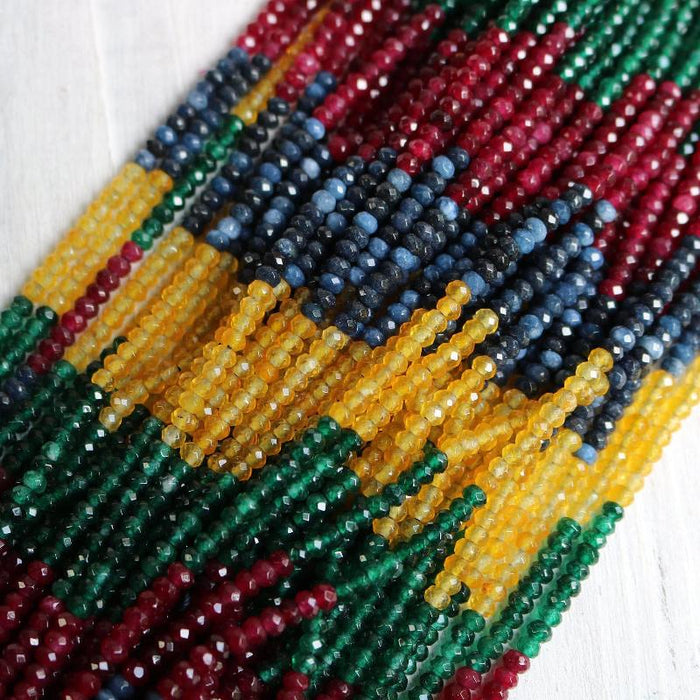 sapphire jade, approx. 4mm x 2mm, rondelle, faceted, 1 strand, 16 inches, approx. 110 beads.-Gemstone Beads-BeadsVenture