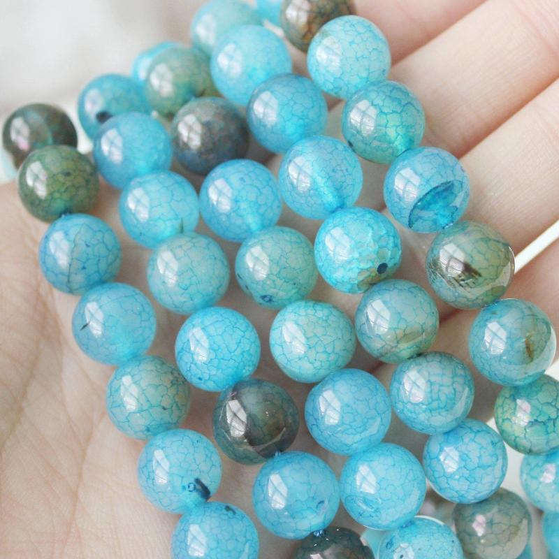 sea blue crackle agate, 10mm, round, glossy, 1 strand, 16 inches, approx. 40 beads.-Gemstone Beads-BeadsVenture
