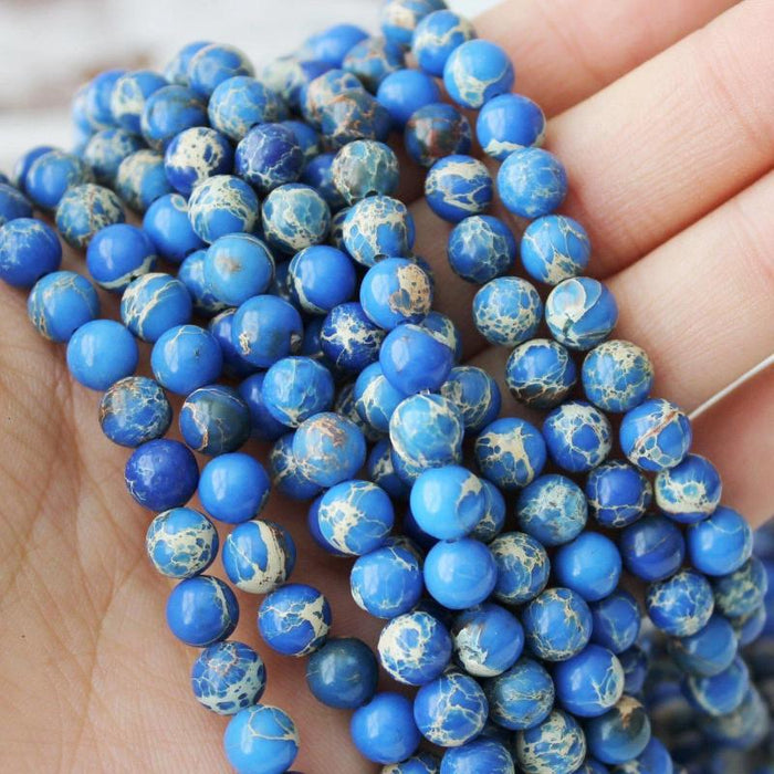 sea blue impression jasper, 6mm, round, glossy, 1 strand, 16 inches, approx. 66 beads.-Gemstone Beads-BeadsVenture