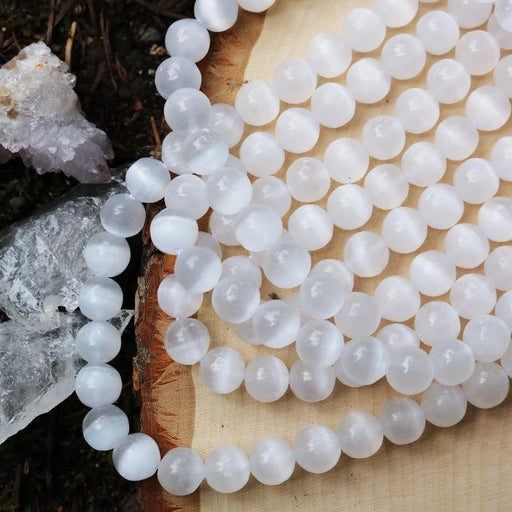 selenite, 10mm, round, glossy, 1 strand, 16 inches, approx. 40 beads.-Gemstone Beads-BeadsVenture