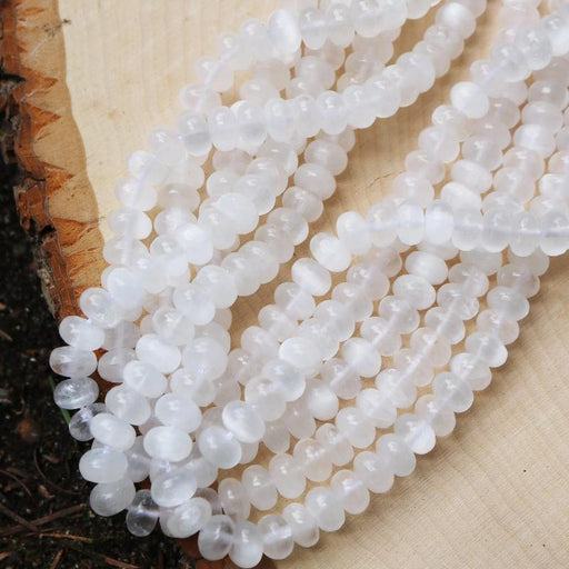 selenite, 5mm × 8mm, rondelle, glossy, 1 strand, 16 inches, approx. 80 beads.-Gemstone Beads-BeadsVenture
