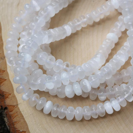 selenite, 6mm × 10mm, rondelle, glossy, 1 strand, 16 inches, approx. 68 beads.-Gemstone Beads-BeadsVenture
