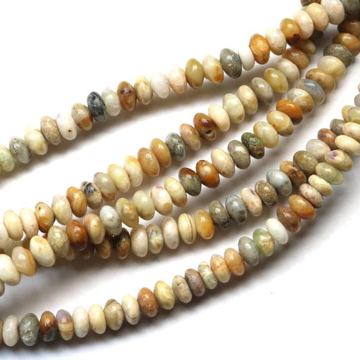 silver leaf jasper , 4mm × 8mm, rondelle, glossy, 1 strand, 16 inches, approx. 100 beads.-Gemstone Beads-BeadsVenture