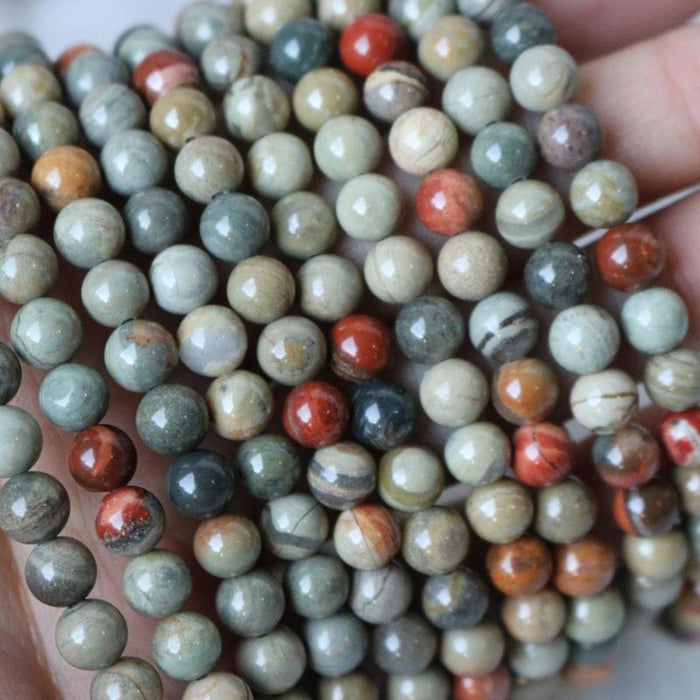 silver leaf jasper, 6mm, round, glossy, 1 strand, 16 inches, approx. 66 beads.-Gemstone Beads-BeadsVenture