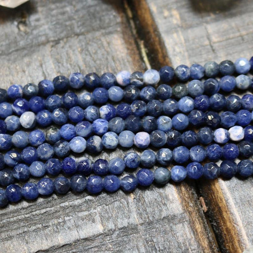 sodalite, 4mm, round, faceted, 1 strand, 16 inches, approx. 96 beads.-Gemstone Beads-BeadsVenture
