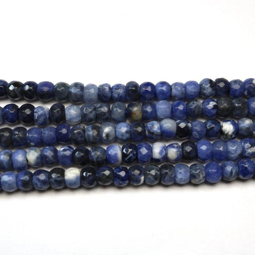 sodalite, 4mm x 6mm, rondelle, faceted, 1 strand, 16 inches, approx. 100 beads.-Gemstone Beads-BeadsVenture