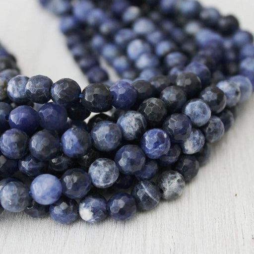 sodalite, 6mm, round, faceted, 1 strand, 16 inches, approx. 66 beads.-Gemstone Beads-BeadsVenture
