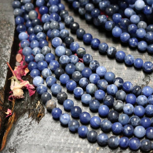 sodalite, 6mm, round, glossy, 1 strand, 16 inches, approx. 66 beads.-Gemstone Beads-BeadsVenture
