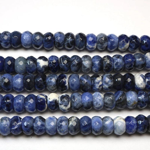sodalite, 6mm x 10mm, rondelle, faceted, 1 strand, 16 inches, approx. 66 beads.-Gemstone Beads-BeadsVenture