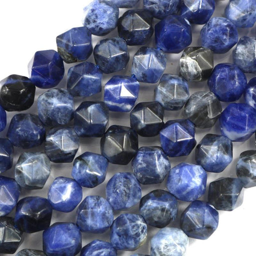 sodalite, 8mm, diamond, faceted, 1 strand, 16 inches, approx. 48 beads.-Gemstone Beads-BeadsVenture