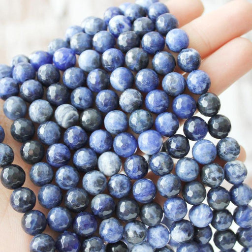 sodalite, 8mm, round, faceted, 16 inch strand, approx. 48 beads-Gemstone Beads-BeadsVenture