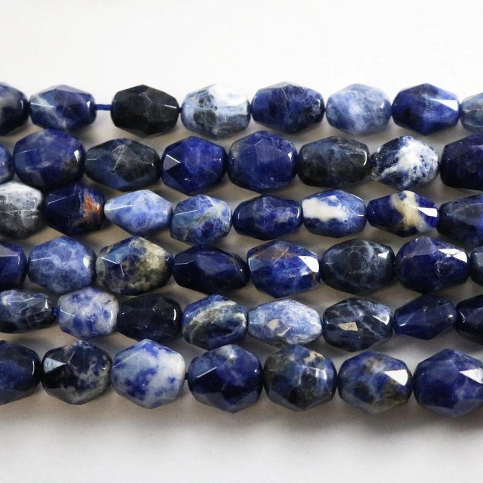 sodalite, approx. 8mm × 12mm, nugget, faceted, 1 strand, 16 inches, approx. 31 beads.-Gemstone Beads-BeadsVenture