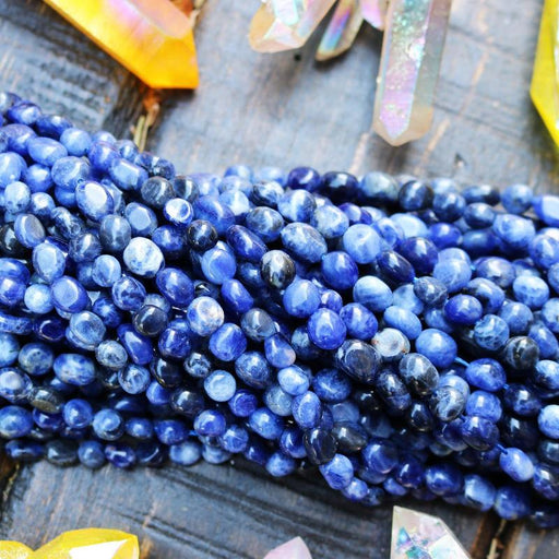 sodalite, approx. 8mm x 5mm, nugget, glossy, 1 strand, 16 inches, approx. 50 beads.-Gemstone Beads-BeadsVenture