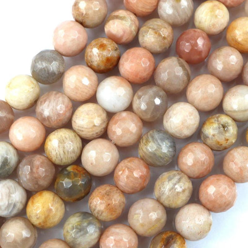 sunstone, 10mm, round, faceted, 1 strand, 16 inches, approx. 40 beads.-Gemstone Beads-BeadsVenture