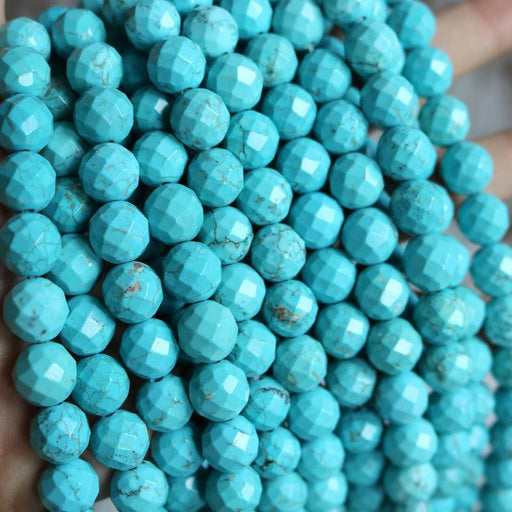 turquoise magnesite, 10mm, round, faceted, 1 strand, 16 inches, approx. 40 beads.-Gemstone Beads-BeadsVenture