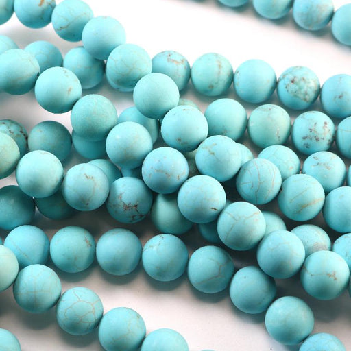 turquoise magnesite, 10mm, round, matte, 1 strand, 16 inches, approx. 40 beads.-Gemstone Beads-BeadsVenture