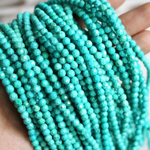 turquoise magnesite, 4mm, round, faceted, 1 strand, 16 inches, approx. 96 beads.-Gemstone Beads-BeadsVenture