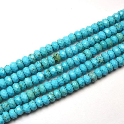turquoise magnesite, 4mm × 6mm, rondelle, faceted, 1 strand, 16 inches, approx. 100 beads.-Gemstone Beads-BeadsVenture
