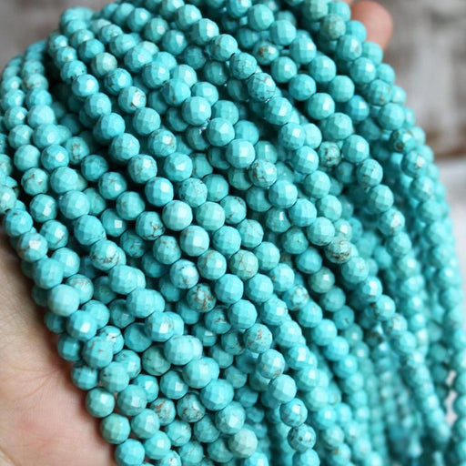 turquoise magnesite, 6mm, round, faceted, 1 strand, 16 inches, approx. 66 beads.-Gemstone Beads-BeadsVenture