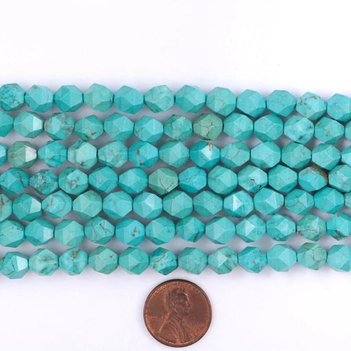 turquoise magnesite, 8mm, diamond, glossy, 1 strand, 16 inches, approx. 48 beads.-Gemstone Beads-BeadsVenture