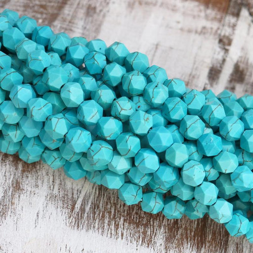 turquoise magnesite, 8mm, diamond, glossy, 1 strand, 16 inches, approx. 50 beads.-Gemstone Beads-BeadsVenture