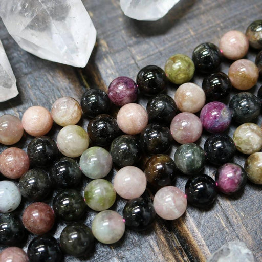 watermelon tourmaline, 10mm, round, glossy, 1 strand, 16 inches, approx. 40 beads.-Gemstone Beads-BeadsVenture