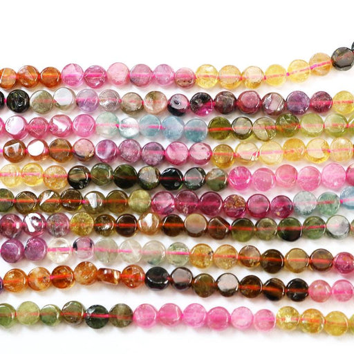 watermelon tourmaline, approx. 3.5mm, coin, glossy, 1 strand, approx. 110 beads.-Gemstone Beads-BeadsVenture