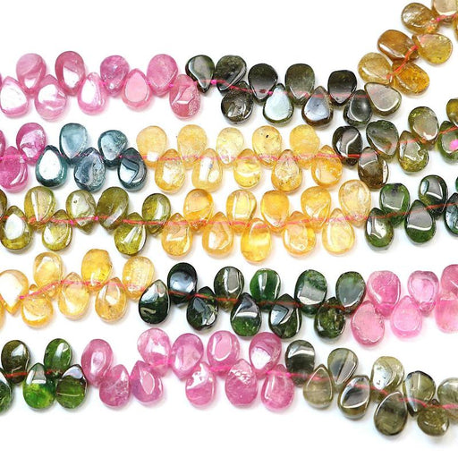 watermelon tourmaline, approx. 5mm × 7mm, teardrop, glossy, 1 strand, approx. 140 beads.-Gemstone Beads-BeadsVenture