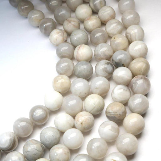 white crazy lace agate, 12mm, round, glossy, 1 strand, 16 inches, approx. 32 beads.-Gemstone Beads-BeadsVenture