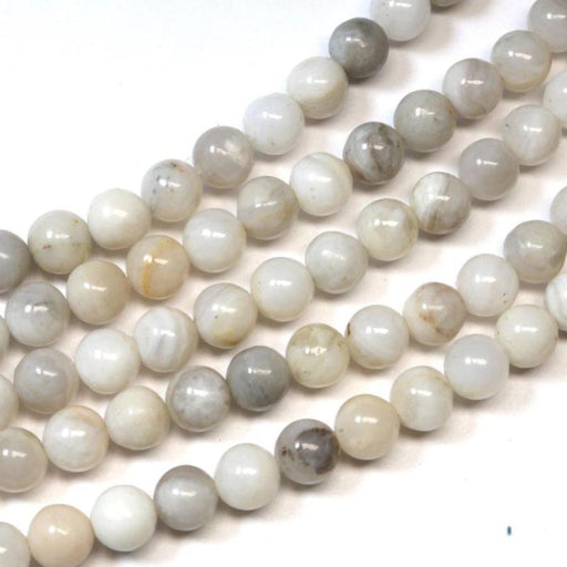 white crazy lace agate, 6mm, round, glossy, 1 strand, 16 inches, approx. 65 beads.-Gemstone Beads-BeadsVenture