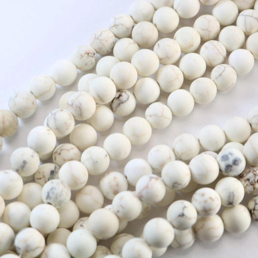 white magnesite, 6mm, round, matte, 1 strand, 16 inches, approx. 66 beads.-Gemstone Beads-BeadsVenture