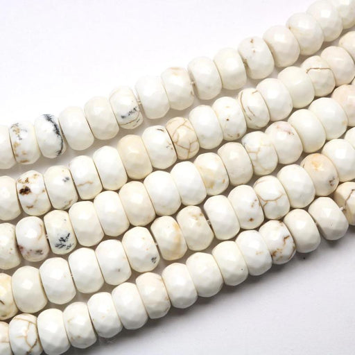 white magnesite, 6mm × 10mm, rondelle, faceted, 1 strand, 16 inches, approx. 66 beads.-Gemstone Beads-BeadsVenture