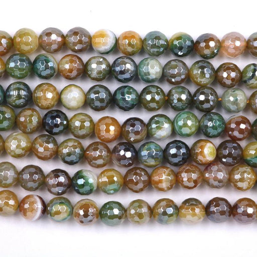 yellow and green striped agate, 10mm, round, silver plated, faceted, 16 inch strand, approx. 38 beads-Gemstone Beads-BeadsVenture